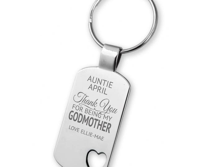 Engraved Thank you for being my GODMOTHER keyring gift, heart cut out keyring - 5583GODF2