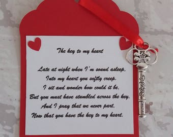 Valentines day, Key to my heart, wedding, Engagement,  novelty gift tag, keep sake