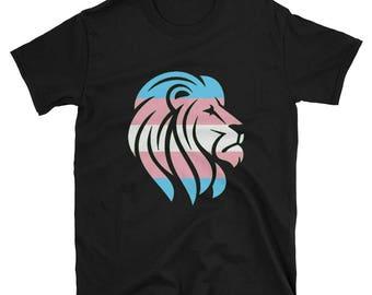Trans Pride Lion Unisex T-Shirt lgbt lgbtqipa lgbtq mogai pride flag transgender pride