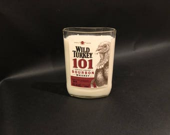 HANDCRAFTED Candle UP-CYCLED 375ML Wild Turkey 101 Whiskey Bottle Soy Candle. Made To Order !!!!!!!