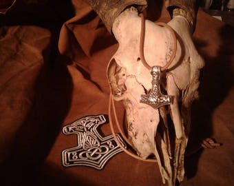 Hand-cast Mjolnir Thor's Hammer Asatru, Viking, Berserker with patch