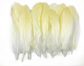 6-8 inch Yellow Ombre Natural Goose Feathers