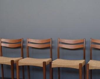 Set of 4 Vintage Mid Century Danish Arne Hovmand Olsen Teak & Cord Dining Chairs
