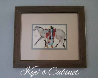 """Cherokee Painter Carol Grigg's Lithograph of """"A Native Woman Horse Riders"""" , Framed and Matted Native American Watercolor"""