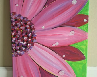 Pink Flower with rain drops acrylic painting