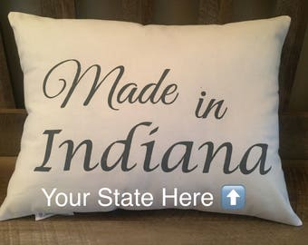 Made in Your State Personalized Pillow-Customized Decorative Pillow-State Name-Location-Housewarming Gift-Nursery-New Baby Gift-America