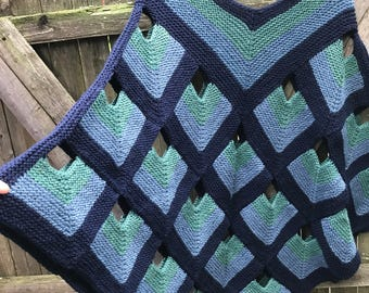 Hand knitted woman's Ladies 100% wool Poncho