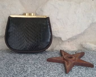 Purse vintage Brown Snake leather - small leather vintage, retro purse made in West Germany