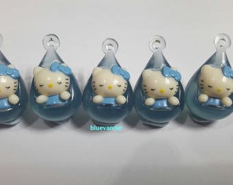 5pcs Blue Hello Kitty Necklace and Bracelet Charm Pendant