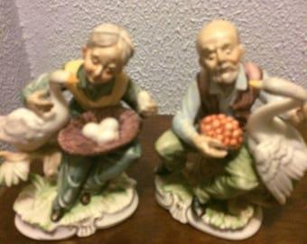 2 vintage Homco old man and woman figurines