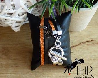 Swarovski crystals and black and orange leather bracelet
