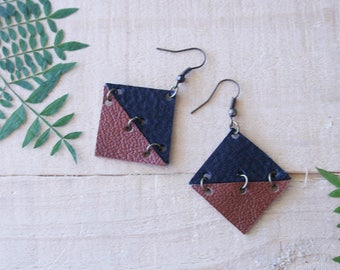 Small Geometric Leather Earrings / Square / Black & Brown