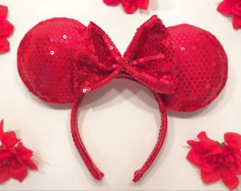 Red Sequin Mouse Ears | Ears | Minnie Ears