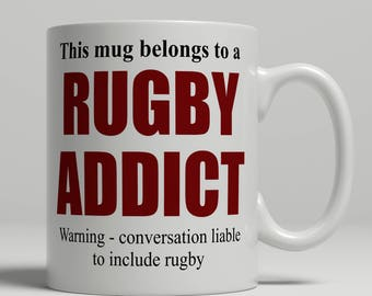 Rugby mug, funny rugby mug, rugby gift idea, rugby coffee mug for rugby player, birthday gift, rugby birthday gift idea, EB addict rugby