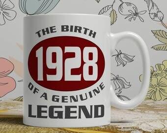 Legend 90th Birthday mug, 90th birthday idea, born 1928 birthday, 90th birthday gift, 90 years old, Happy Birthday, EB 1928 Legend
