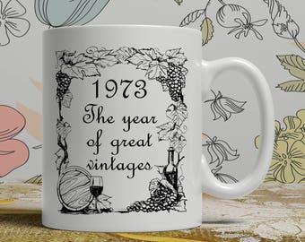 Vintage wine mug, Born 1973, 45th Birthday mug, 45th birthday idea, 1973 birthday, 45th birthday gift idea, Happy Birthday, EB 1973 Vintage