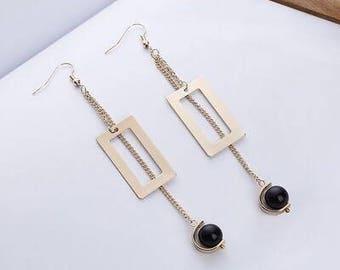 Black Beaded Drop Earring / Women Earring / Fashion Earring