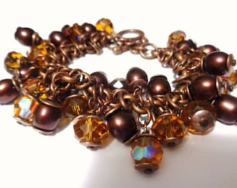 Copper bracelet antiqued Pearls of Brown River and Swarovski crystals