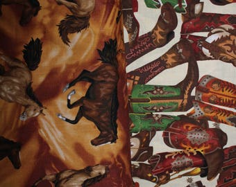 cotton fabric by yard, 100%, horse, western, cowboy boot