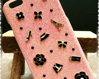 handmade glittered pink color iPhone 6 plus hard case with coco chanel charms