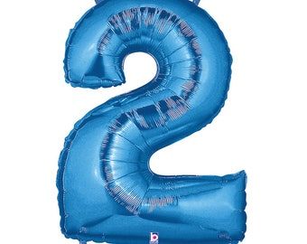SHIPS FAST - Blue Megaloon Number Balloons, Blue Number 2 Balloon, Giant Number Balloon, Big Number Balloons, Blue Balloon - Any Number