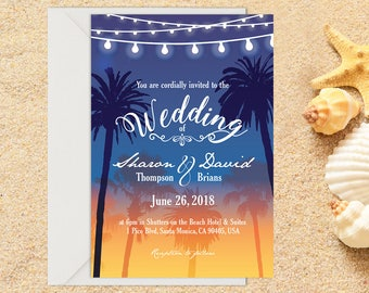 Beach Wedding Invitation with Setup, Destination Wedding, Beach Wedding, Tropical Wedding, Printable Wedding, Template, Wedding invitation