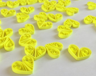 Quilled Hearts Paper Quilling Art Confetti Scatter Ornaments Gifts Fillers Valentines Mothers Day Baby Bridal Shower Wedding Neon Yellow