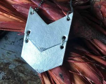 Industrial Recycled Leather Silver Chevron Necklace