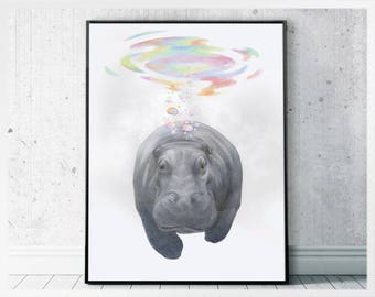 Hippo art office pictures - hippopotamus print digital download - safari animals poster printable gift idea for friend - animal drawings