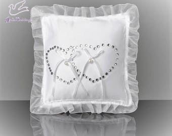 Ring bearer pillow with crystal hearts
