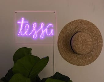 Custom NON-glass - Small 11 x 14 in - 6 lettes or less faux El Wire Neon Sign / Handmade / Your choice of words