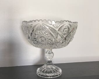 Vintage Cut Glass Bowl on Stand