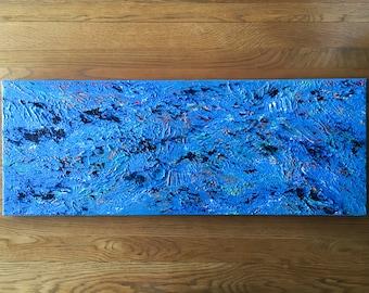 Ripple - Art Canvas Painting 30cm x 80cm Blue Texture Wall Art Acrylic
