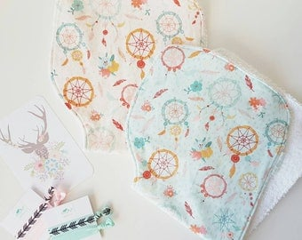 Dreamcatcher Print Contoured Baby Burp Cloth in Either Coral or Mint