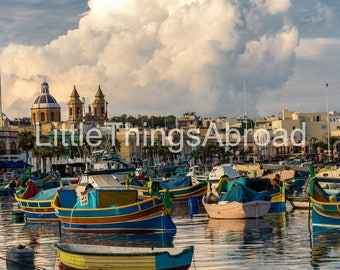 Luzzu boats photo print on canvas, Marsaxlokk, Malta, harbor, sea, high resolution, digital art, printable travel photography, giclee,