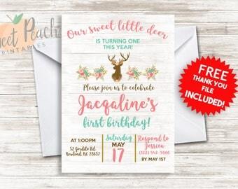 Sweet Little Deer Birthday Invite Deer Invitation Invite Sweet Little Deer Digital 5X7 Print Today