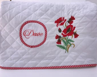 Sewing machine cover, Brother, Jenome, Singer,  Sewing Embroidery Machine dust Cover and Mat, Pre-quilted fabric, Embroidered machine cover