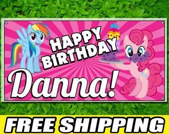 My Little Pony Printed Happy Birthday Vinyl Banner Personalized Custom Name