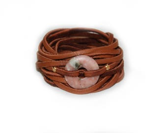 Stone and Deerskin Leather Wrap Bracelet and Necklace