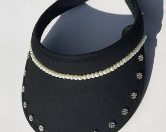 Women's golf sun visor with bling flowers and pearl beads, sun hat, cap - black and clip-on