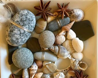 Smooth natural beach stones with seed pods and shells. German silver wire accent. Tabletop nature display, stone potpourri.