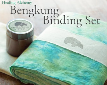 "Bengkung Postpartum Set: Bengkung Belly Bind 17 Yards x 9"", Firming & Tightening Belly Balm, Flannel Under Cloth"
