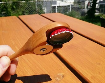 Discounted - Large Cherry Bottle Opener with Magnetic Bottlecap Catch