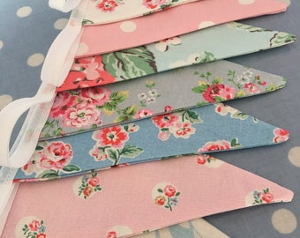 Cath kidston, shabby chic bunting,Fabric banners, wedding bunting,pennants,flags,cotton fabrics,party flags,vintage event