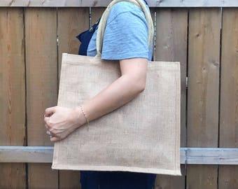 "Everyday Jute Tote Bag/ Natural Burlap Beach Bag/ 15.5""x13.75""x6""/ Grocery Tote/ Eco-Friendly Boho Style/ Large Handbag/ Market Tote"
