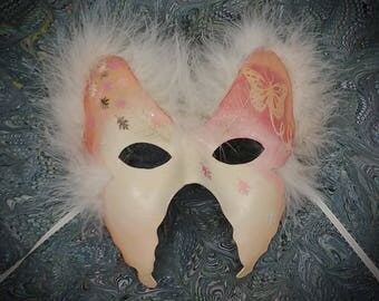Fairy Moth Mask - Fairy Mask, Moth Mask, Masquerade Mask, Butterfly Mask, Paper Mache Mask, Blush Colored Mask, Fairy Mask, Party Mask