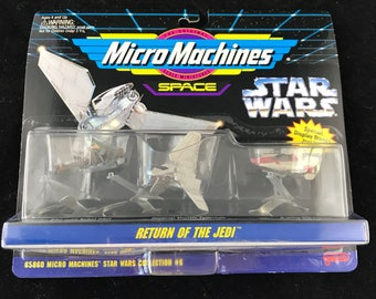 1994 Micro Machines Space Return of the Jedi, Col 6. Featuring Speeder Bike w/Rebel Pilot, Imperial Shuttle Tydirium and A-Wing Starfighter.