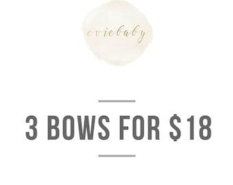 Set of 3 bows, baby headband, baby hair clip, headbands, baby girl headbands, hair clips, hair bows, baby hair bows, baby girl bows