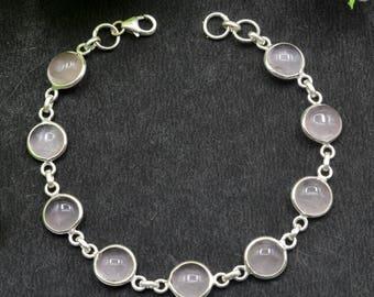 Natural Rose Quartz Round Gemstone Chain Bracelet 925 Sterling Silver B70