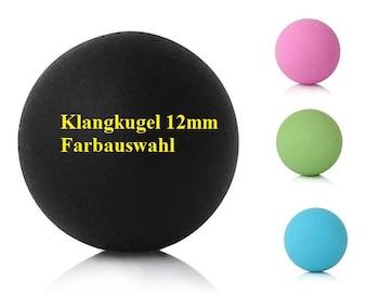Ball, jewellery ball, sound ball, harmony, 12 mm, matt, green, black, pink, turquoise